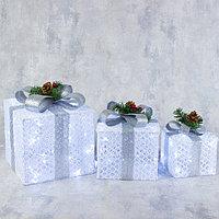 Фигура текстиль 'Подарки белые с серой лентой'15х20х25 см, 60 LED, 220V, БЕЛЫЙ
