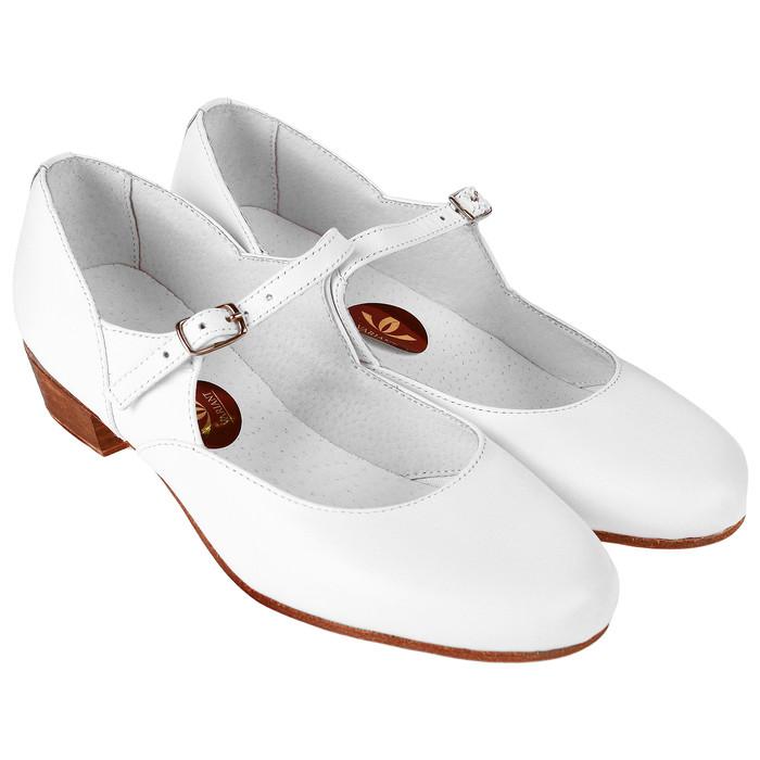 Туфли народные женские, длина по стельке 22,5 см, цвет белый - фото 1