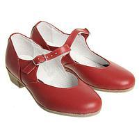 Туфли народные женские, длина по стельке 19,5 см, цвет красный