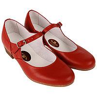 Туфли народные женские, длина по стельке 21,5 см, цвет красный