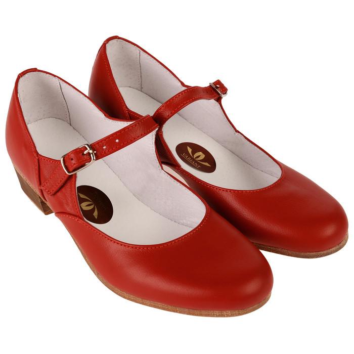 Туфли народные женские, длина по стельке 21,5 см, цвет красный - фото 1