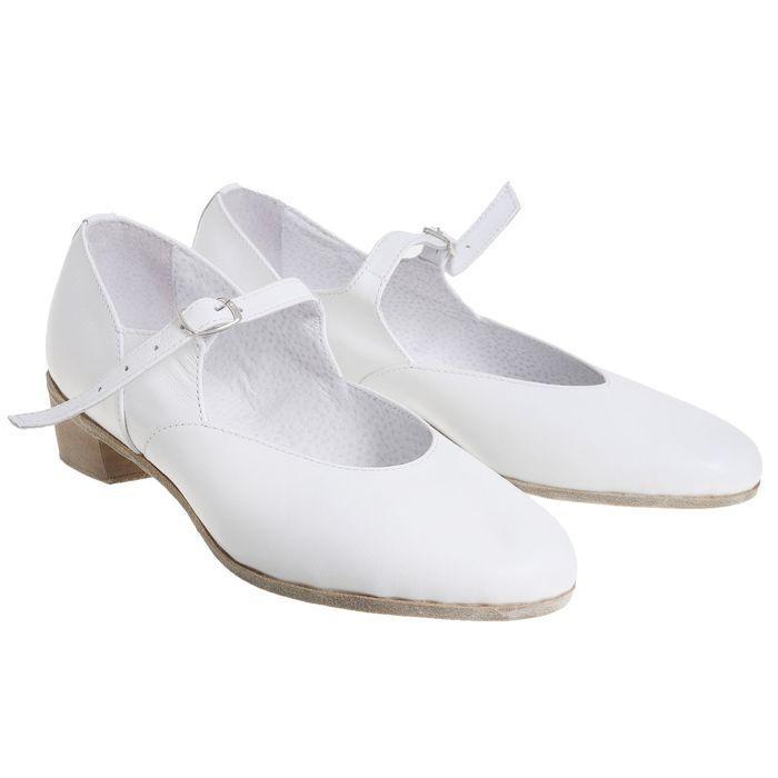 Туфли народные женские, длина по стельке 24 см, цвет белый - фото 1