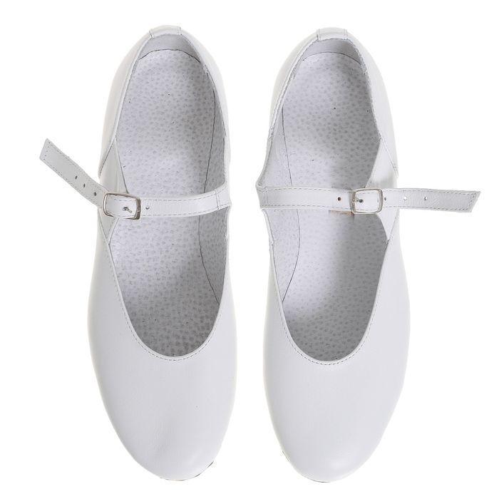 Туфли народные женские, длина по стельке 24 см, цвет белый - фото 3