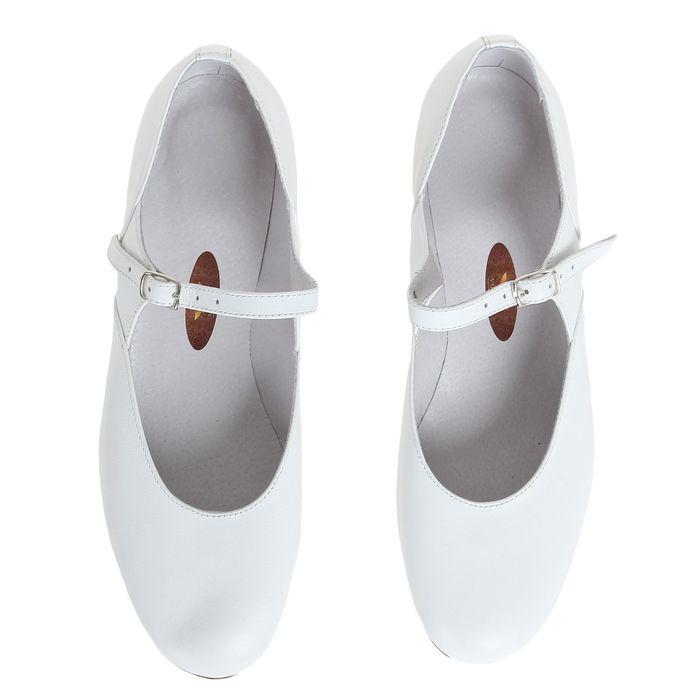 Туфли народные женские, длина по стельке 26 см, цвет белый - фото 2