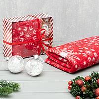 Подарочный набор LoveLife плед 150*130см 'Снежинки' с новогодними игрушками