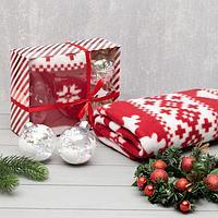 Подарочный набор LoveLife плед 150*130см 'Новогодний олень' с новогодними игрушками