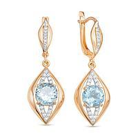 Серьги позолота 'Красота' 14-07760, цвет бело-голубой в золоте