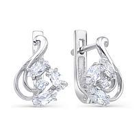 Серьги посеребрение 'Красота' 10-05229, цвет белый в серебре