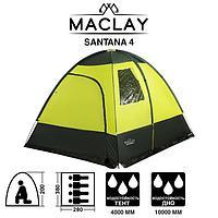 Палатка туристическая SANTANA 4, размер 280 x 380 x 200 см, 4-местная, двухслойная