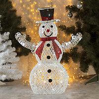 Фигура светодиодная 'Снеговик с красным шарфом' 80 см, 100 LED, 220V, БЕЛЫЙ