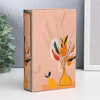Сейф-книга дерево кожзам 'Цветы в вазе на столе с лимоном' 17х11х5 см