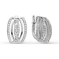 Серьги посеребрение 'Красота' 10-02467, цвет белый в серебре