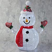 Фигура светодиодная 'Снеговик в шапке и шарфе' 60 см, 60 LED, 220V, БЕЛЫЙ