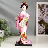 Кукла коллекционная 'Японка в розовом кимоно с опахало' 25х9,5х9,5 см