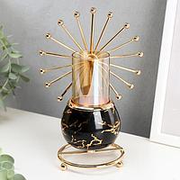 Подсвечник металл на 1 свечу 'Колесо обозрения' золото на чёрном мраморе 20х14х9 см