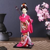 Кукла коллекционная 'Японка в цветочном кимоно с музыкальным инструментом' 30х12,5х12,5 см