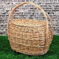 Корзина 'Хозяйственная', с крышкой, 17/26x30/38x22/42 см, ручное плетение, ива