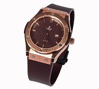 Часы наручные мужские реплика Hublot Geneve Big Bang (Бронза, коричневый ремешок)