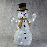 Фигура текстиль 'Снеговик. Жёлтый шарф', 80 см, 100 LED, 220V, БЕЛЫЙ