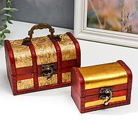 Шкатулка сундучок 'Золотые цветы' набор 2 шт 7х6,5х11 см 9,5х14х9 см