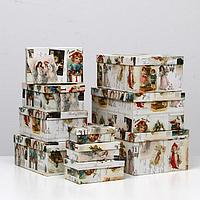 Набор коробок 10в1 'Новогодние открытки', 30,5 х 20 х 13 - 12 х 6,5 х 4 см