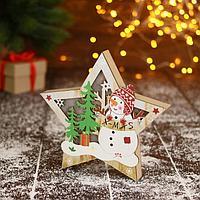 Фигурка новогодняя свет 'Снеговик в лесу с подарками, в звезде' 16,5х16 см