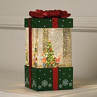 Фигура световая 'Подарок зеленый', 10х10х19 см, USB, музыка, Т/БЕЛЫЙ