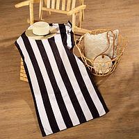Полотенце пляжное с ручками Этель 'Полосы черные', 70*140 см,250гр/м2, 100п/э