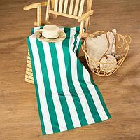 Полотенце пляжное с ручками Этель 'Полосы зеленые', 70*140 см,250гр/м2,100п/э
