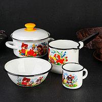 Набор посуды 'Улыбка', 4 предмета Кастрюля 1,5 л, Ковш 1,5 л, Кружка 0,25 л, Миска 0,8 л