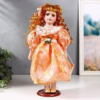 Кукла коллекционная керамика 'Малышка Зоя в кремово-розовом платье с сумочкой' 40 см