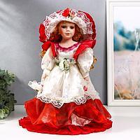 Кукла коллекционная керамика 'Мадмуазель Есения в бело-бордовом платье и шляпке' 40 см