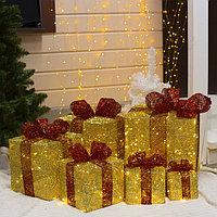 Фигура ткан. 'Подарки золотые с красной лентой' 15х20х25х30х35х40 см, 250 LED, 220 В, 8 р.,