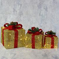Фигура текстиль 'Подарки золотые с красной лентой' 15х20х25 см, 60 LED, 220V, Т/БЕЛЫЙ