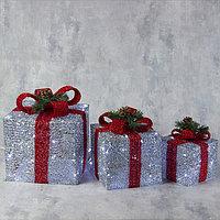 Фигура текстиль 'Подарки серебряные с красной лентой' 15х20х25 см, 60 LED, 220V, БЕЛЫЙ