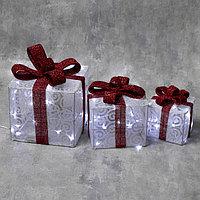 Фигура текстиль 'Подарки белые' 15х20х25 см, 60 LED, контр. 8 р., 220V, БЕЛЫЙ