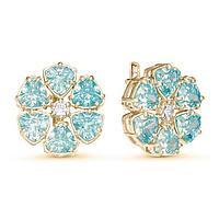 Серьги позолота 'Цветочек' 10-07302, цвет голубой в золоте