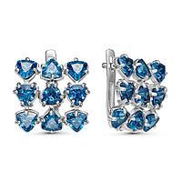 Серьги посеребрение 'Льдинки' 10-07283, цвет голубой в серебре