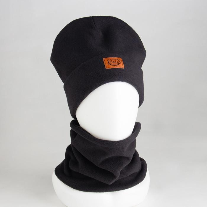 Комплект (шапка, снуд) детский, цвет чёрный, размер 54-56 - фото 1