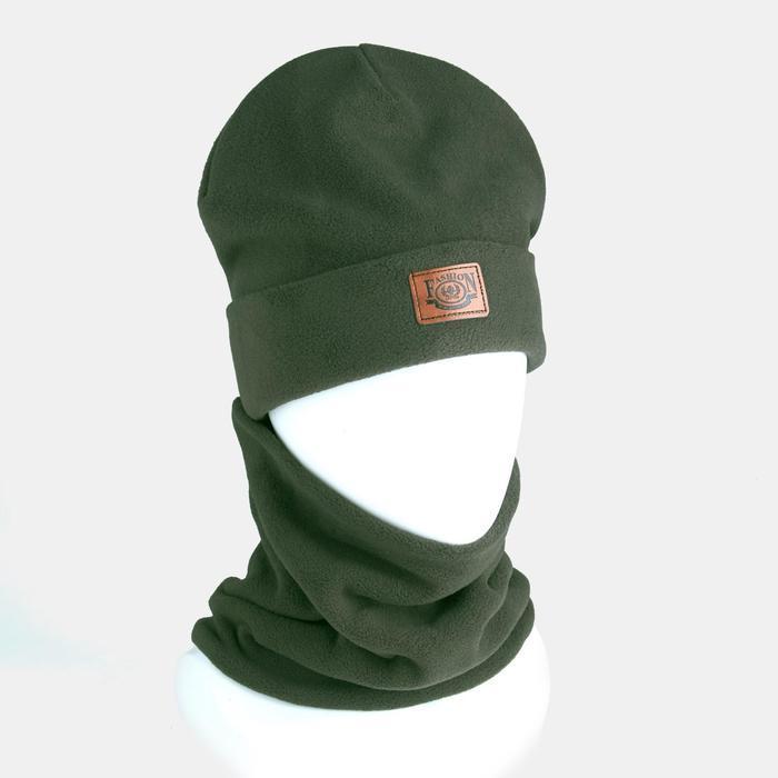 Комплект (шапка, снуд) детский, цвет хаки, размер 54-56 - фото 1