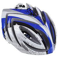 Шлем велосипедиста взрослый T23, размер 52-60 см, цвет синий/белый