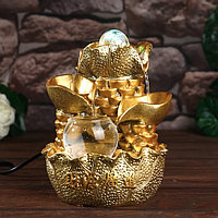Фонтан настольный от сети, подсветка 'Листья и слитки золота' золото 21х15х12 см