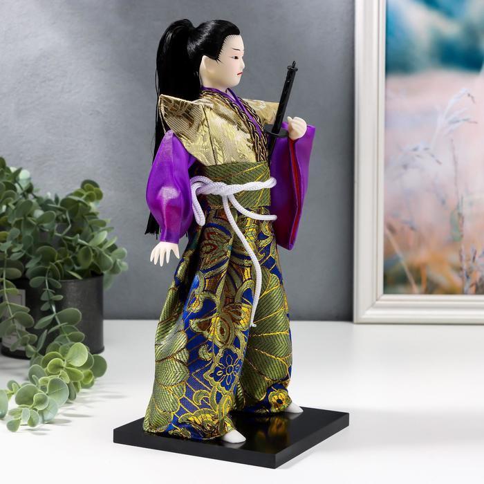 Кукла коллекционная 'Самурай в золотом кимоно с мечом' 30х12,5х12,5 см - фото 3