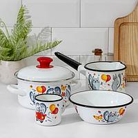 Набор посуды Керченская эмаль 'Кис-Кис', 4 предмета кастрюля 1,5 л, ковш 1 л, кружка 0,25 л, миска 0,8 л