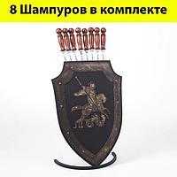 Набор шашлычника 'Георгий Победоносец' шампурница, 8 шампуров узбекских с деревянной ручкой