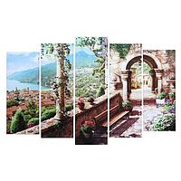 Картина модульная на подрамнике 'Средиземноморский пейзаж' 80х130 см(1-79*23, 2-69*23, 2-60*)