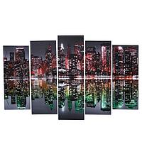 Картина модульная на подрамнике 'Краски Нью-Йорка' 80х130 см(1-79*23, 2-69*23, 2-60*)