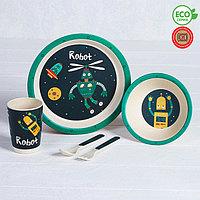 Набор детской посуды из бамбука 'Робот', 5 предметов тарелка, миска, стакан, столовые приборы