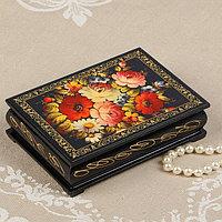 Шкатулка 'Цветочная роспись', 10x14 см, лаковая миниатюра