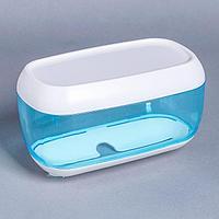 Диспенсер бумажных полотенец в листах, 23x13x14 см, пластик, цвет голубой